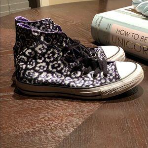 Animal Print Converse High Top Sneakers Sz 7